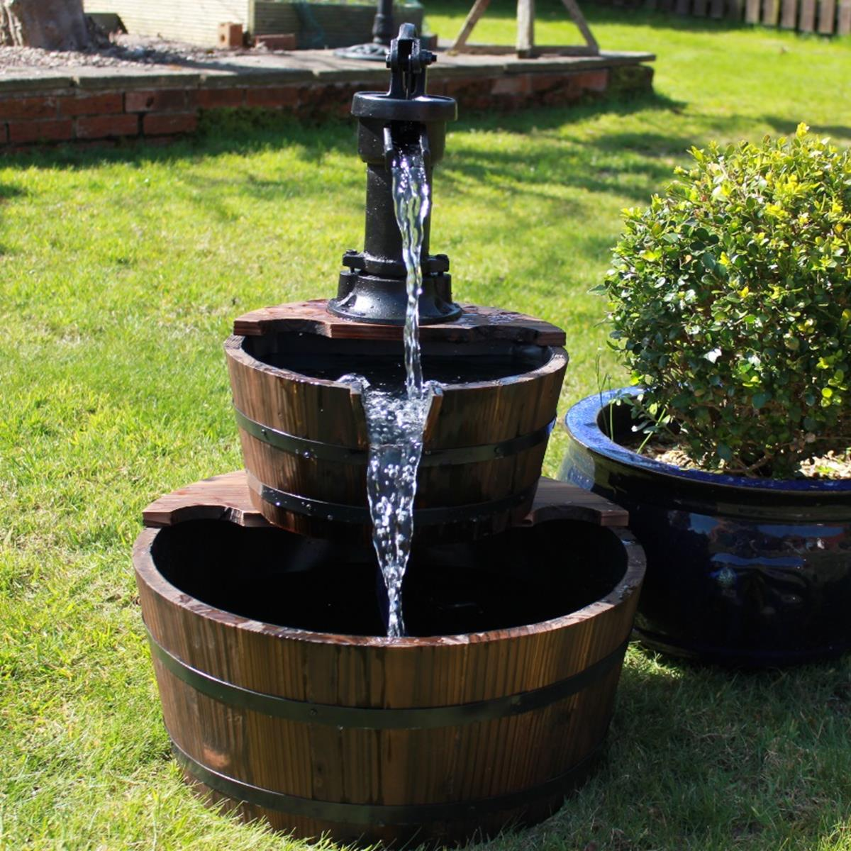 2 Tier Wooden Barrel Water Feature with Cast Iron Pump