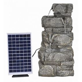 Solar Powered 3 Drop Rockface Water Feature with Battery Back Up