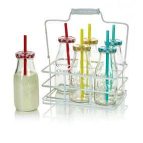 Set of Six Multi Coloured Milk Bottles with Straws and Carry Case