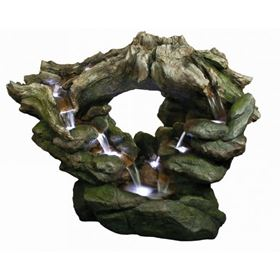 Oval Woodland Falls Water Feature with LED Lights
