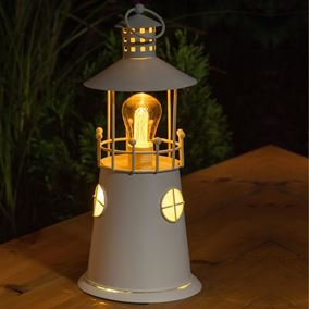 Rustic Metal Battery Powered Lighthouse Lantern With Warm White Filament Bulb