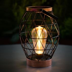 Geo Metal Table Lantern with Retro Light Bulb