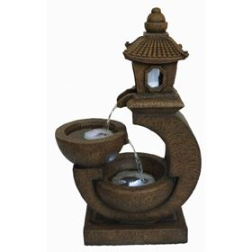 Cantilever Pagoda with Bowls Lit Water Feature