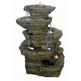 6 Fall Slate Rockfall Lit Water Feature