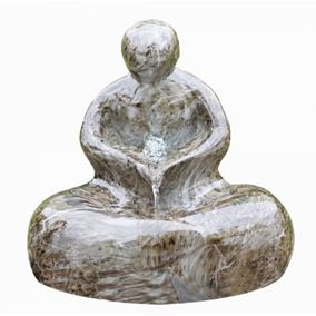 Marble Effect Sitting Man Lit Water Feature