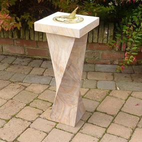 Rainbow Sandstone Sundial With Twisted Base & Square Top With Hummingbird Design
