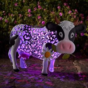 Metal Daisy Cow Silhouette Solar Light