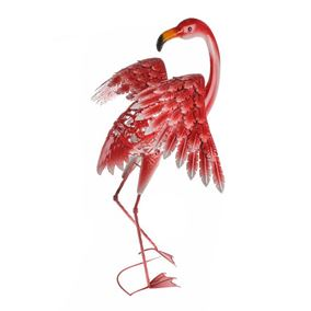 Wild Jungle Dancing Pink Flamingo Metal Garden Ornament