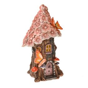 Secret Garden Large Round Solar Powered Fairy House With Pink Petals