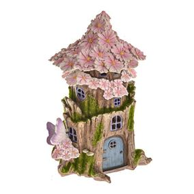 Secret Garden Medium Round Solar Powered Fairy House With Pink Petals