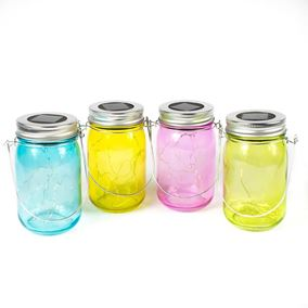 4 Pack of Multi Coloured Glass Jars with Built In Solar Powered Warm White Fairy Lights