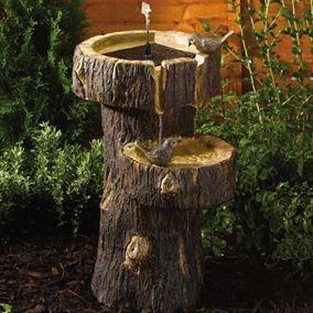 Tree Trunk Birdbath Solar Water Feature