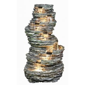 8 Tier Rock Cascade Water Feature with Lights
