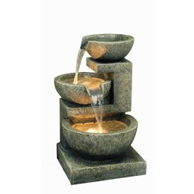 Medium Granite Three Bowl Water Feature with Lights