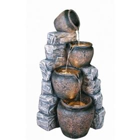 Four Pots On Blue Slate Wall Lit Water Feature