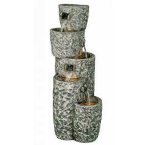 Five Tier Circular Granite Falls Water Feature with Lights