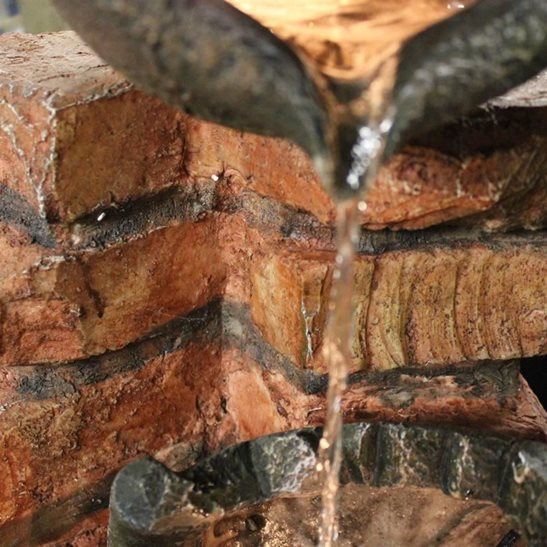 additional image for Four Pots on Brick Wall Lit Water Feature