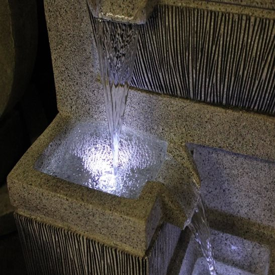 additional image for 4 Bowl Textured Granite Water Feature with LED Lights