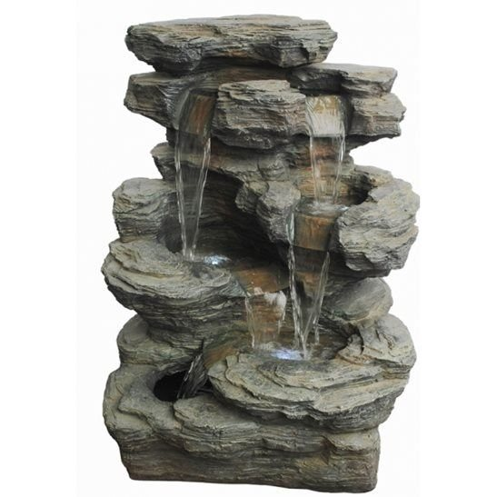 Large Slate Multi Fall Water Feature with LED Lights