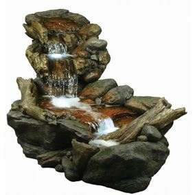 Large Boulder River Falls Water Feature with LED Lights
