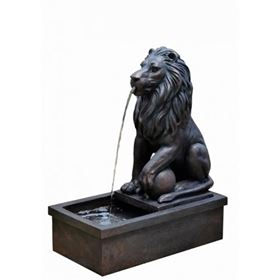 Sitting Lion by Pool Water Feature with LED Lights