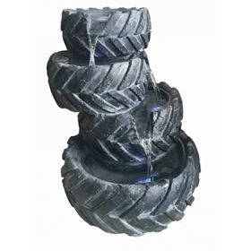 4 Stacked Tyres Lit Water Feature