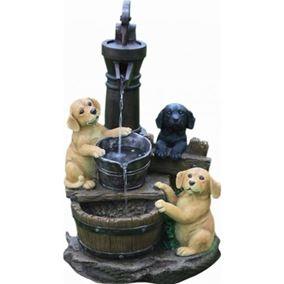 3 Puppies at Pump Lit Water Feature with LED Lights