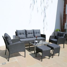 6 Piece Luxury Rattan Garden Furniture Set with Coffee Table
