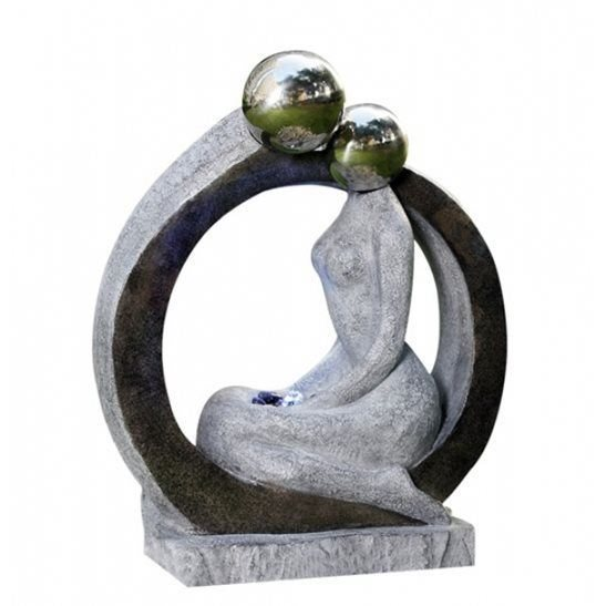 Sitting Lady Water Feature with LED Lights