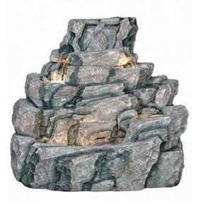 Large Wide Rock Boulder Lit Water Feature