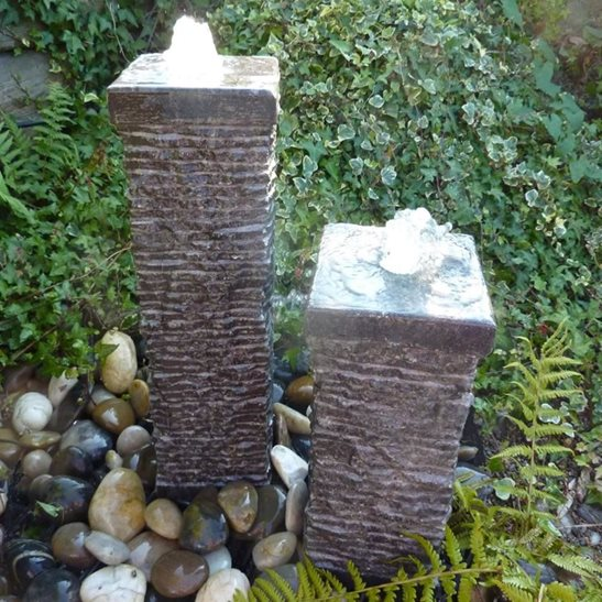 Two Black Limestone Columns Water Feature Kit