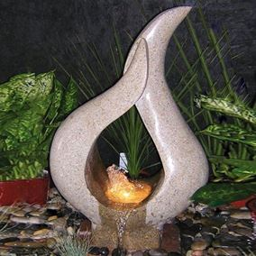 Babbling Flame Granite Water Feature Kit