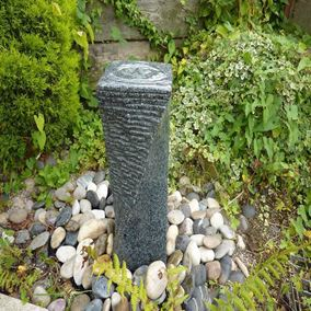 Dark Grey Twist Granite Column Water Feature Kit