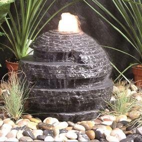 Black Rustic Limestone Sphere Water Feature Kit (50cm)