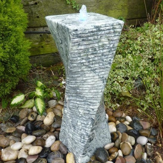Twisted Green Marble Column Water Feature