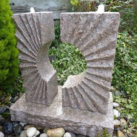 Pink Granite Eclipse Sun Fountain Water Feature Kit