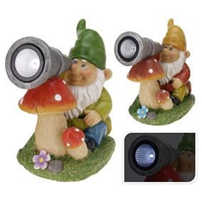 Garden Gnome with Solar Light and Coloured Hat