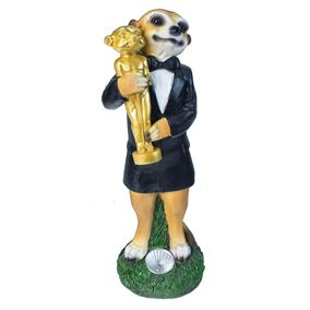 Meerkat with Golden Oscar Solar Powered Garden Light