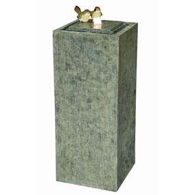 2 Birds on Stone Column Lit Water Feature