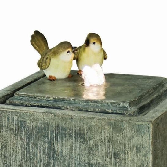 additional image for 2 Birds on Stone Column Lit Water Feature