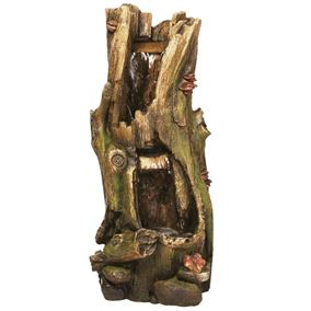 2 Fall Tree Trunk Water Feature with LED Lights