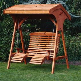 Roofed Comfort Wooden Garden Swing Seat Beech Finish