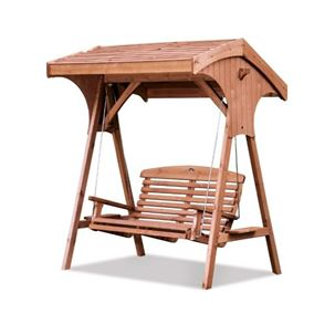 Roofed Apex Wooden Garden Swing Seat Beech Finish