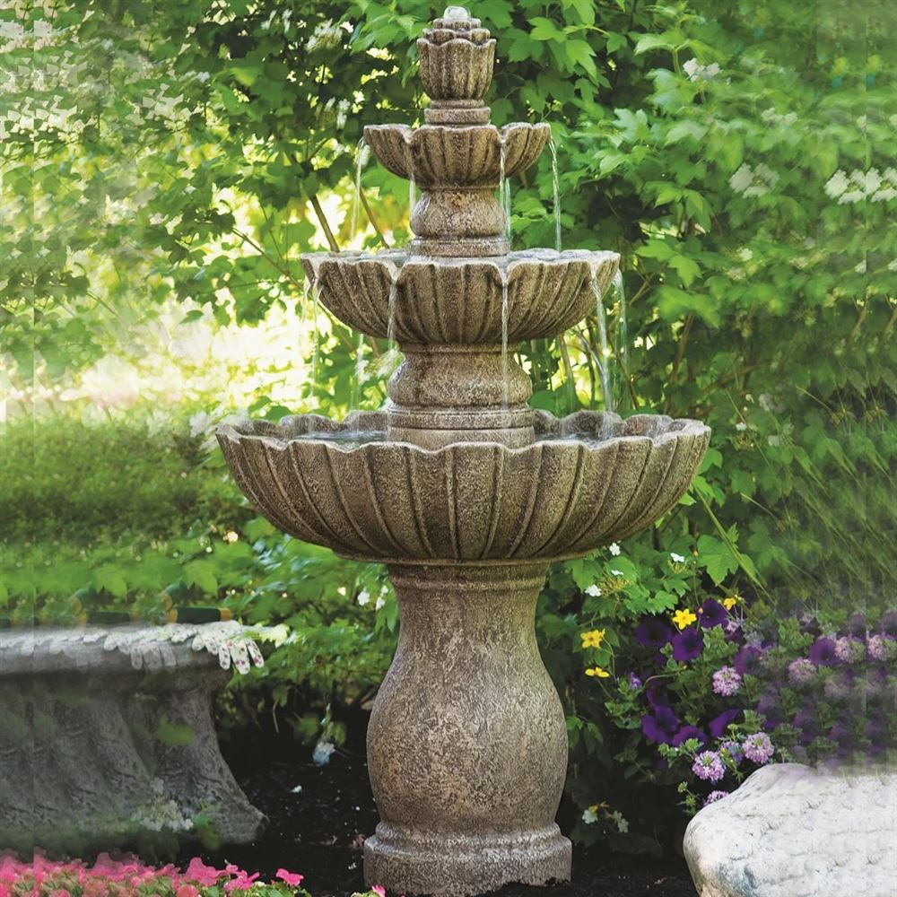 Mirabella Scallop Four Tier Cast Stone Fountain (Burro Brown Stone)