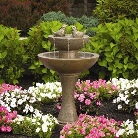 Cast Stone Tranquility Spill Fountain With Birds (Classic Iron)