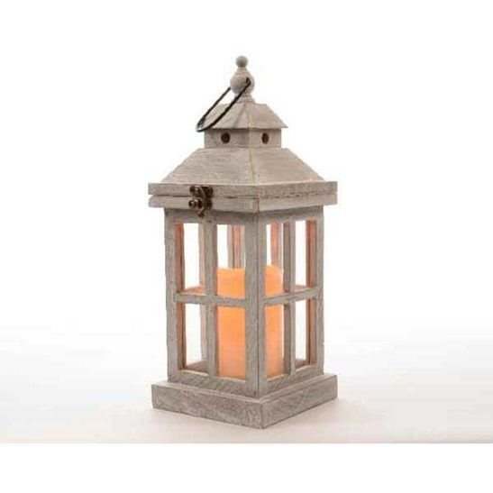 36cm Grey Wooden Lantern With Flickering Led Candle