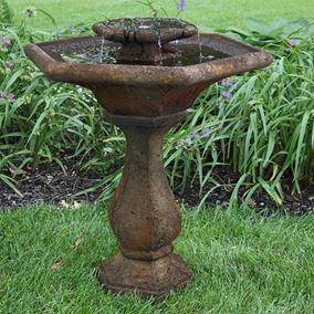 Two Tier Cast Stone Chelsea Glow Hex Fountain (Everglade Stone)