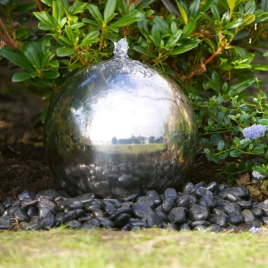 30cm Solar Powered Stainless Steel Sphere Water Feature