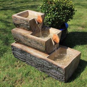 3 Level Wooden Log Solar Powered Water Feature Garden Fountain