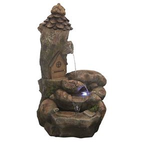 Fairy House Rock Falls Garden Water Feature